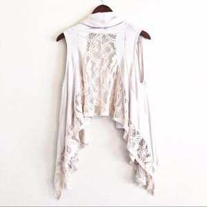 Forever | ivory lace back waterfall vest